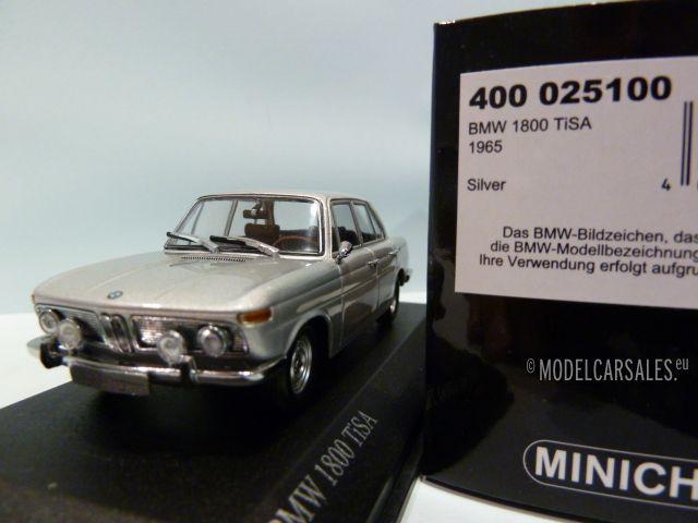 bmw 1800 tisa silver 1 43 400025100 minichamps modellauto zu verkaufen. Black Bedroom Furniture Sets. Home Design Ideas